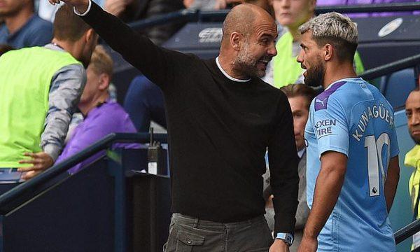 Fuerte discusión entre Agüero y Guardiola en pleno partido
